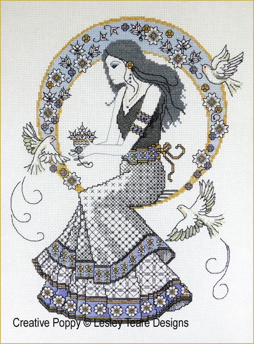 Blackwork Autumn Beauty cross stitch pattern by Lesley Teare Designs
