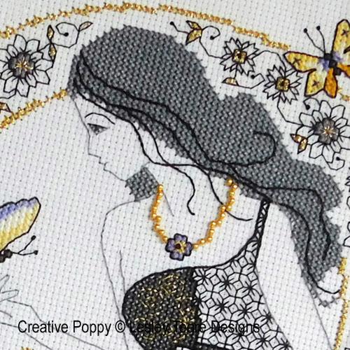 Blackwork Summer Beauty cross stitch pattern by Lesley Teare Designs, zoom 1
