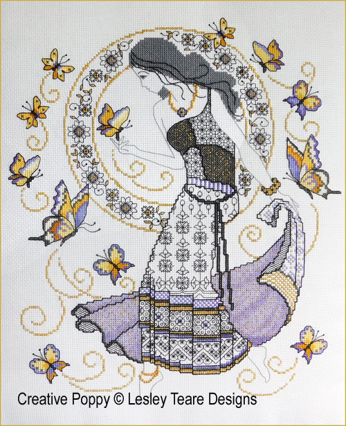 Blackwork Summer Beauty cross stitch pattern by Lesley Teare Designs