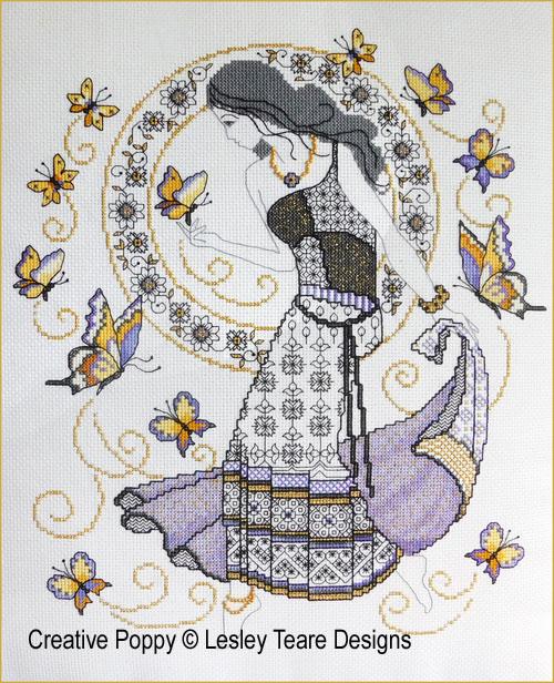 Blackwork Summer Beauty cross stitch pattern by Lesley Teare Designs