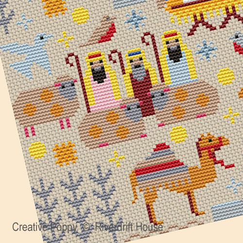 Christmas Nativity Sampler cross stitch pattern by Riverdrift House, zoom 1