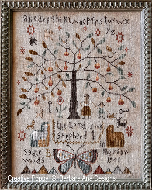 Sadie Woods 1901 cross stitch pattern by Barbara Ana Designs