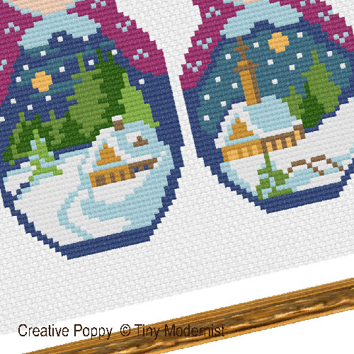 Winter Matryoshka cross stitch pattern by Tiny Modernist, zoom 1