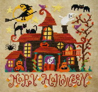 <b>Haunted house</b><br>cross stitch pattern<br>by <b>Barbara Ana Designs</b>