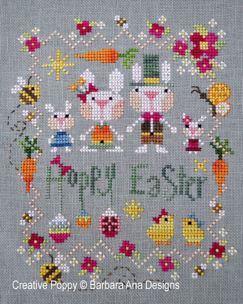 <b>Hoppy Easter</b><br>cross stitch pattern<br>by <b>Barbara Ana Designs</b>