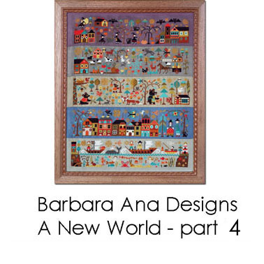 A New World cross stitch pattern by Barbara Ana Designs
