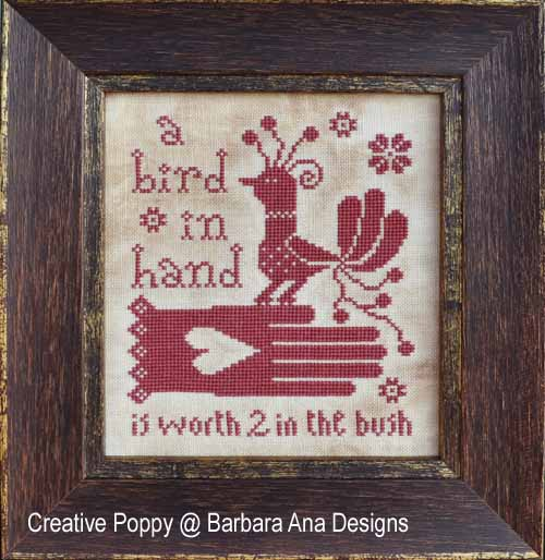 Bird in Hand cross stitch pattern by Barbara Ana designs