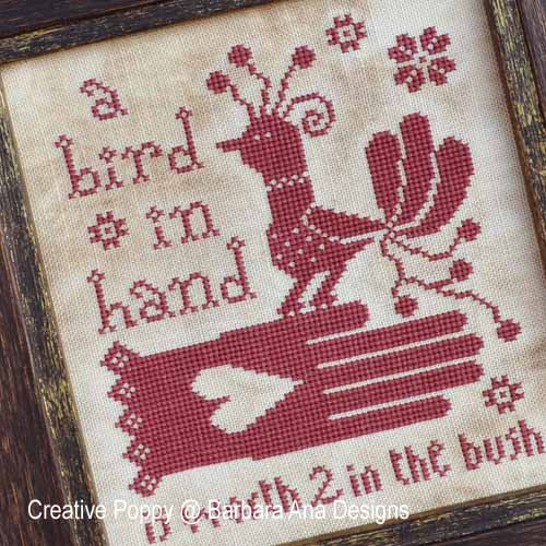 A Bird In Hand cross stitch pattern by Barbara Ana Designs, zoom 1