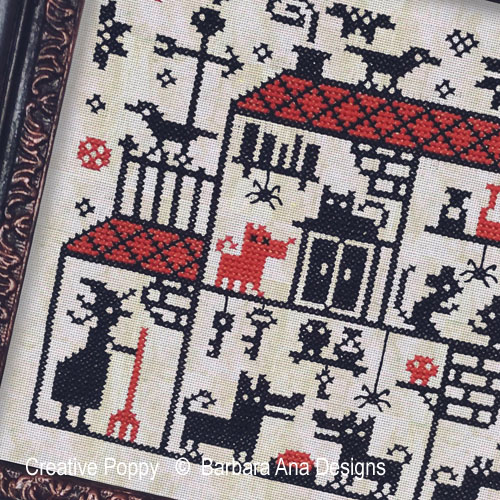 Crowded House cross stitch pattern by Barbara Ana designs, zoom 1