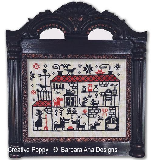 Crowded House cross stitch pattern by Barbara Ana designs