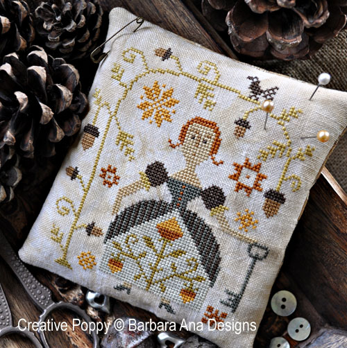 Autumn Keeper cross stitch pattern by Barbara Ana Designs