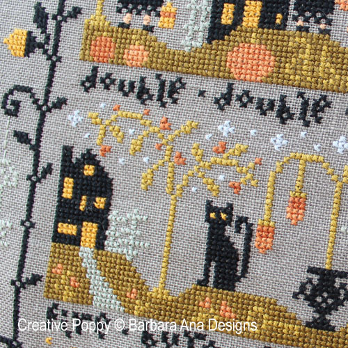 Black Cat hollow (complete chart) cross stitch pattern by Barbara Ana designs, zoom 1