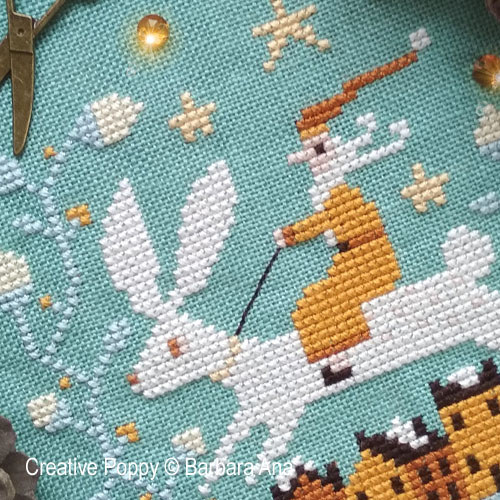 Christmas Hare cross stitch pattern by Barbara Ana designs, zoom 1