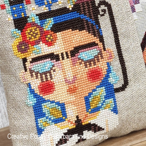 A cup of Frida cross stitch pattern by Barbara Ana designs, zoom 1