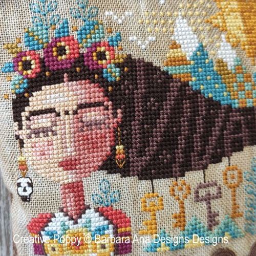 Dreaming Frida cross stitch pattern by Barbara Ana Designs