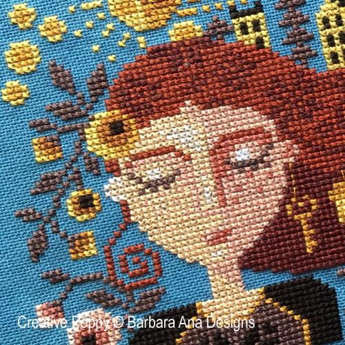 Dreaming Girl cross stitch pattern by Barbara Ana Designs, zoom 1