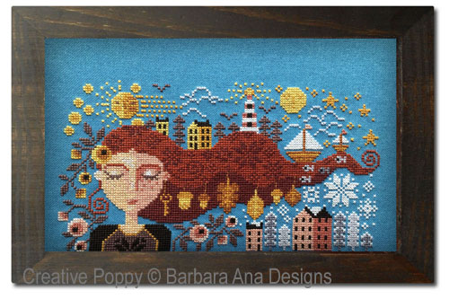 Dreaming Girl cross stitch pattern by Barbara Ana Designs