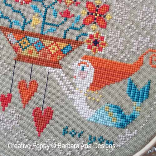 Flowers from the Sea - cross stitch pattern designed  by Barbara Ana