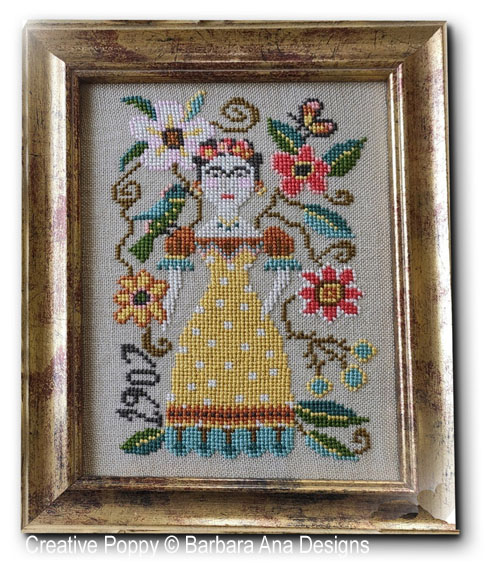 Frida cross stitch pattern by Barbara Ana Designs