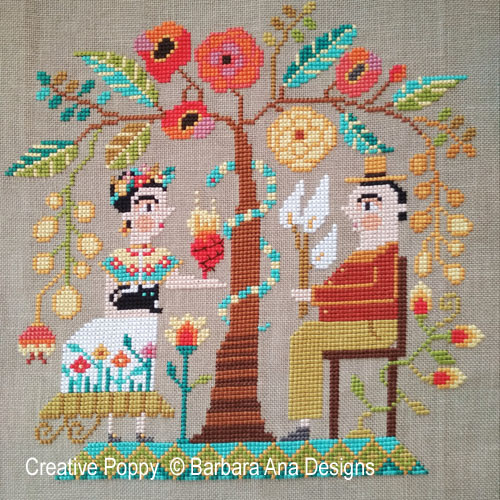 Frida & Diego cross stitch pattern by Barbara Ana Designs