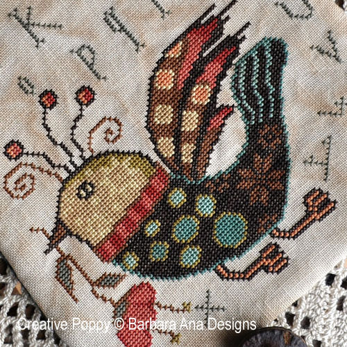 Funky Bird Ditty Bag cross stitch pattern by Barbara Ana Designs, zoom 1