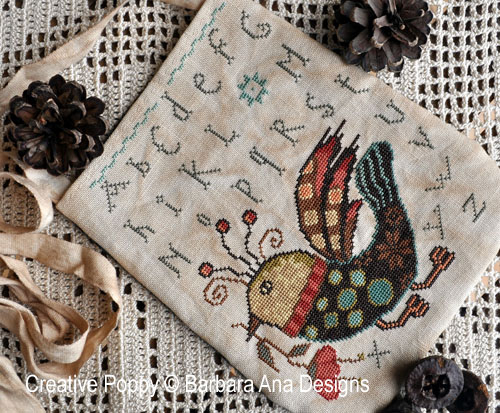 Funky Bird Ditty Bag cross stitch pattern by Barbara Ana Designs