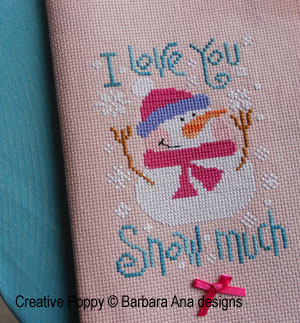 Cross stitch patterns expressing love, with fun and humour