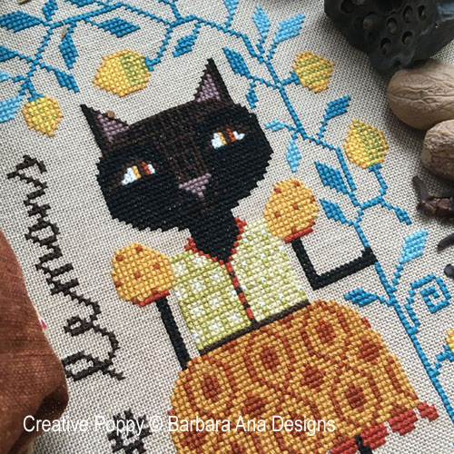 Lemon Cat cross stitch pattern by Barbara Ana Designs
