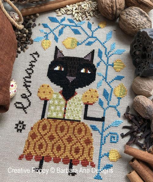 Lemon Cat cross stitch pattern by Barbara Ana Designs