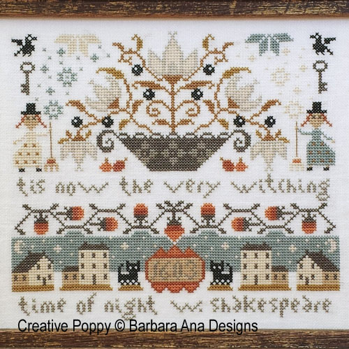 Midnight (Tis the very witching...) cross stitch pattern by Barbara Ana Designs