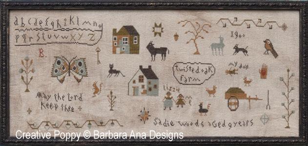 Sadie Woods Sampler cross stitch pattern by Barbara Ana designs