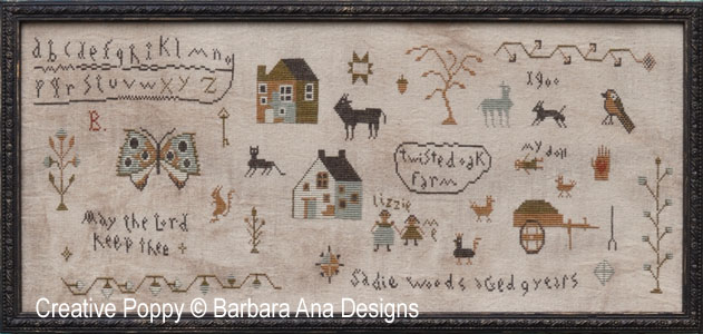 Original Sadie Woods sampler designed by Barbara Ana