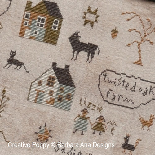 Sadie Woods Sampler cross stitch pattern by Barbara Ana designs, zoom 1