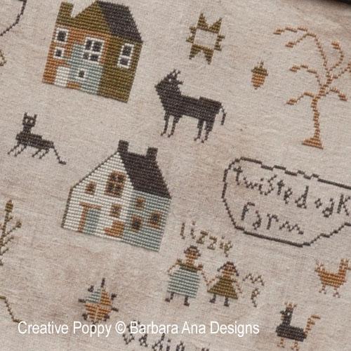 Sadie Woods Sampler cross stitch pattern by Barbara Ana designs, zoom 1