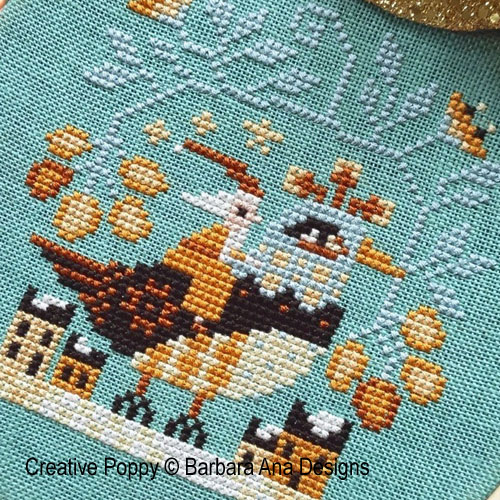 Santa's Flight cross stitch pattern by Barbara Ana Designs