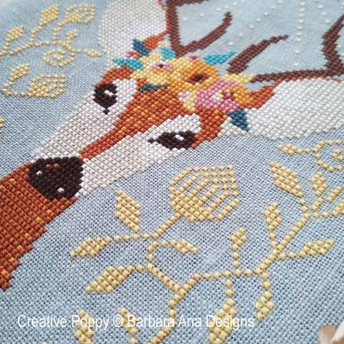 Barbara Ana Designs - Spring Deer zoom 1 (cross stitch chart)