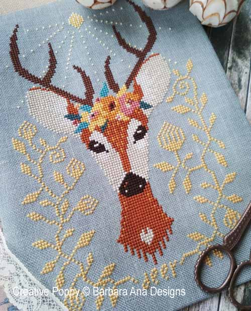 Spring Deer cross stitch pattern by Barbara Ana Designs