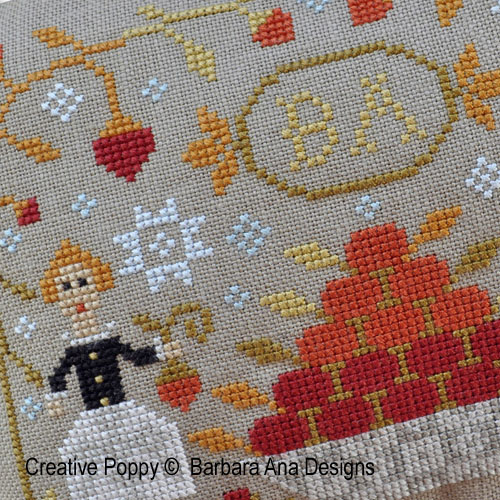 Strawberry Harvest cross stitch pattern by Barbara Ana Designs, zoom 1