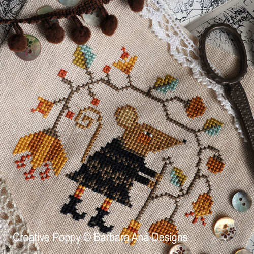 Sweeping the Garden cross stitch pattern by Barbara Ana Designs