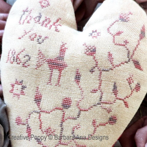 Thankful Heart cross stitch pattern by Barbara Ana Designs, zoom 1