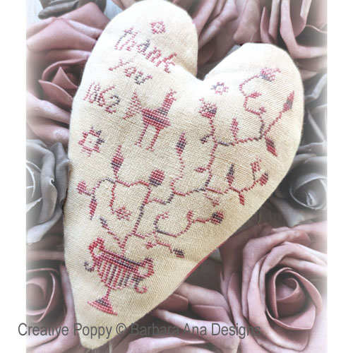 Thankful Heart cross stitch pattern by Barbara Ana Designs