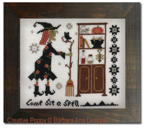 Witchy Pantry (Come sit a spell) cross stitch pattern by Barbara Ana Designs