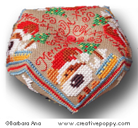 Santa Paws biscornu - cross stitch pattern - by Barbara Ana Designs