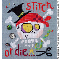 Stitch or die! cross stitch pattern by Barbara Ana Designs, zoom 1