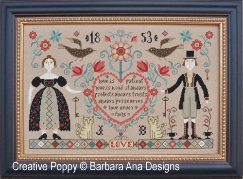 Love Never Fails cross stitch pattern by Barbara Ana Designs