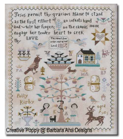 Polly Kirby Sampler cross stitch pattern by Barbara Ana designs