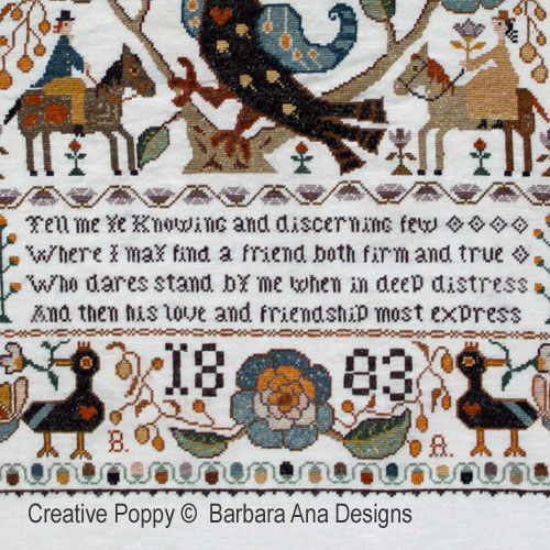 Portuguese Bird Sampler cross stitch pattern by Barbara Ana Designs, zoom 4