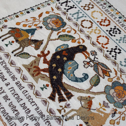 Portuguese Bird Sampler by Barbara Ana, inspired by Arraiolos embroidered carpets