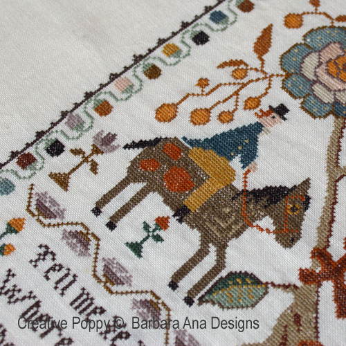 Portuguese Bird Sampler cross stitch pattern by Barbara Ana Designs, zoom 3
