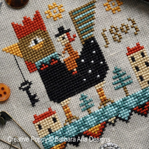 Rooster Ride cross stitch pattern by Barbara Ana Designs
